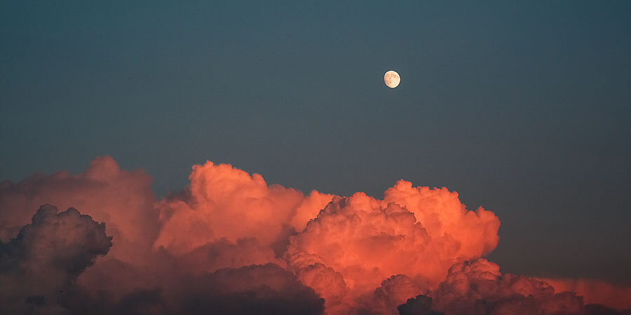Moon and sunset